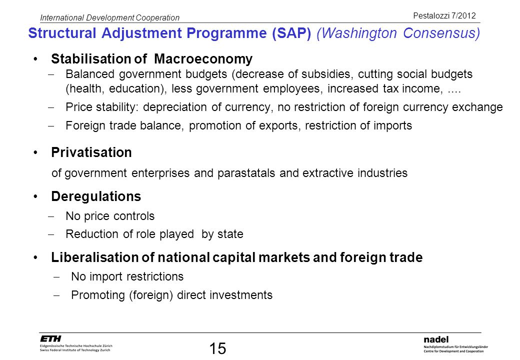 Structural Adjustment Programme (SAP) (Washington Consensus)