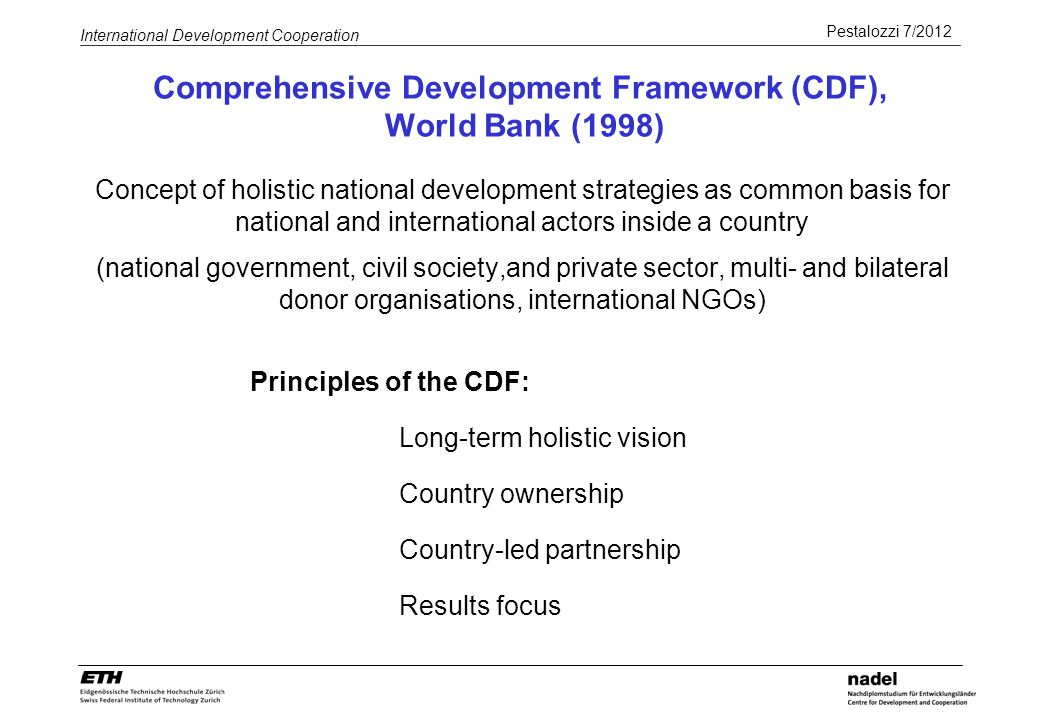 Comprehensive Development Framework (CDF), World Bank (1998)