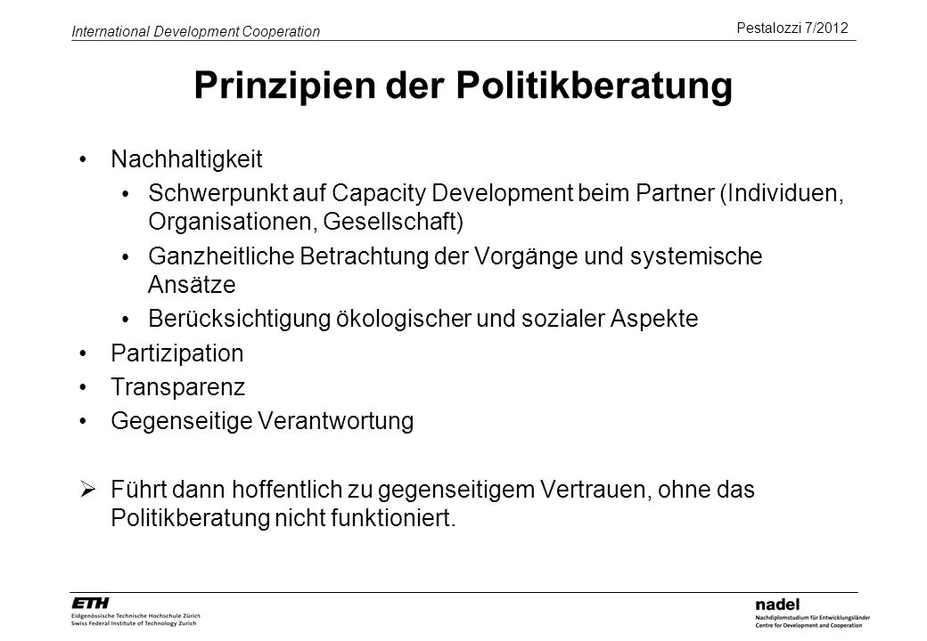 Prinzipien der Politikberatung