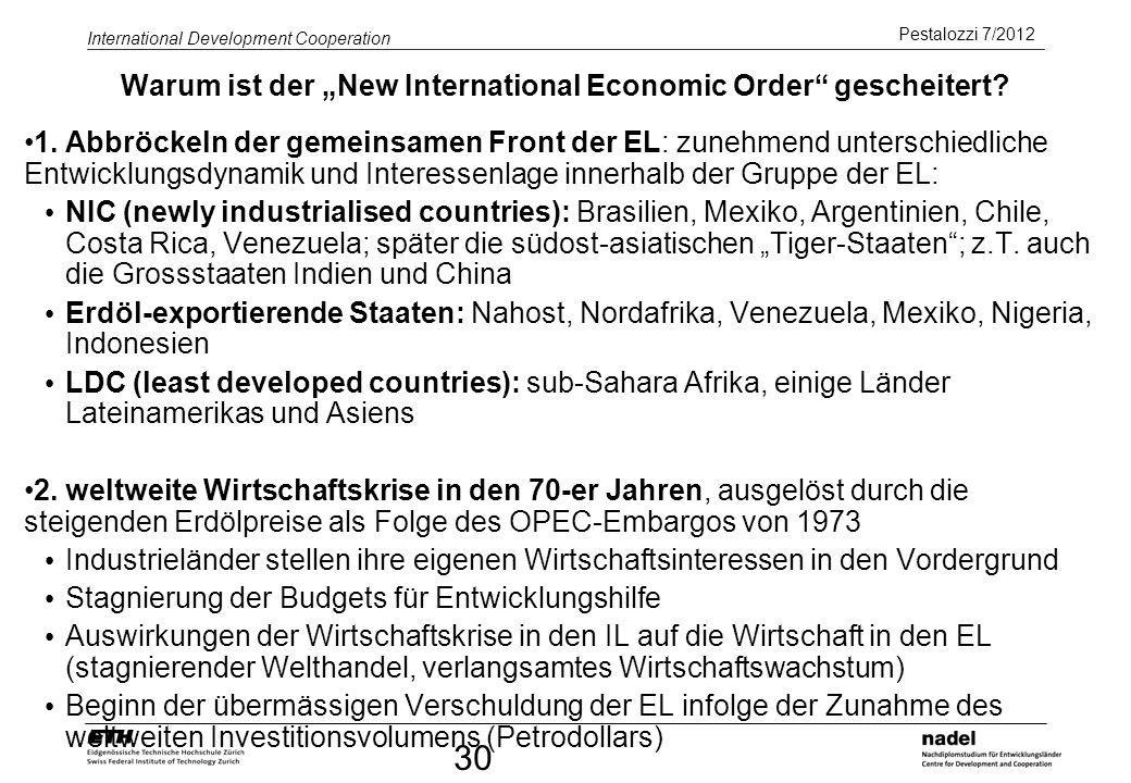 """Warum ist der """"New International Economic Order gescheitert"""