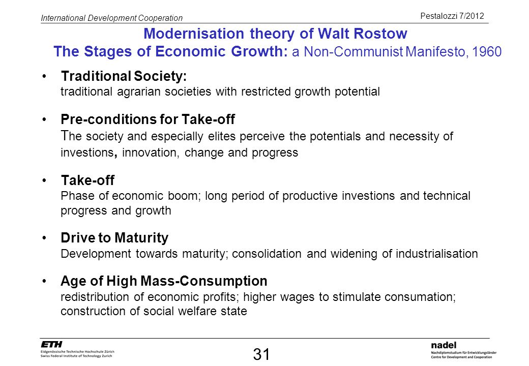 Modernisation theory of Walt Rostow The Stages of Economic Growth: a Non-Communist Manifesto, 1960