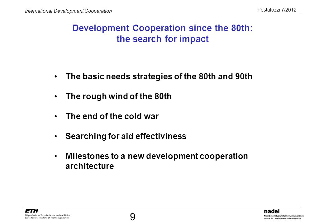 Development Cooperation since the 80th: the search for impact