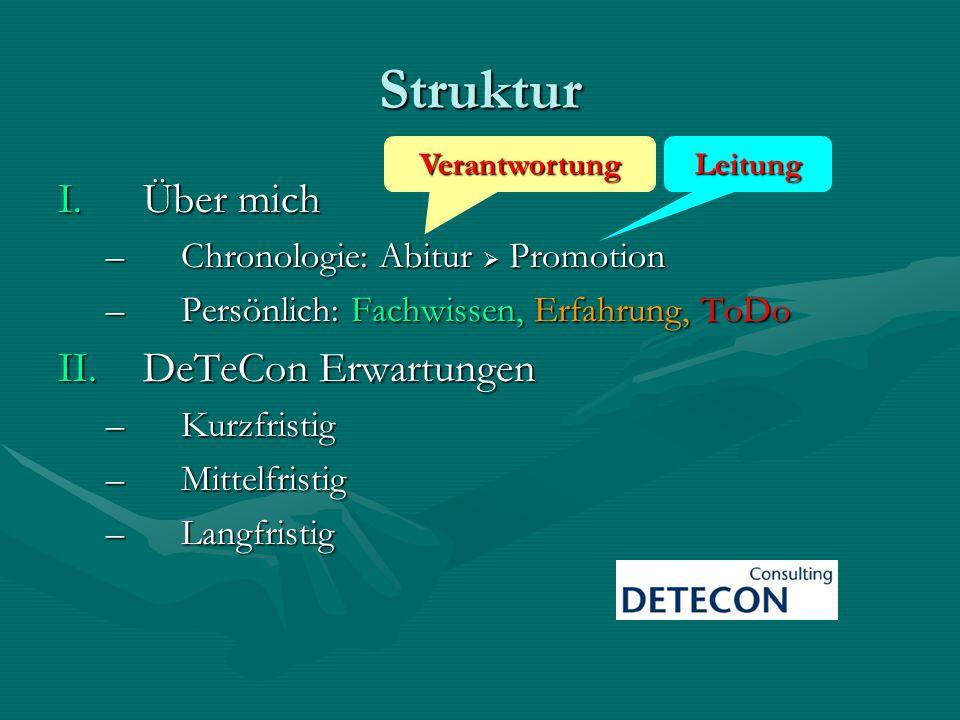 Struktur Über mich DeTeCon Erwartungen Chronologie: Abitur  Promotion