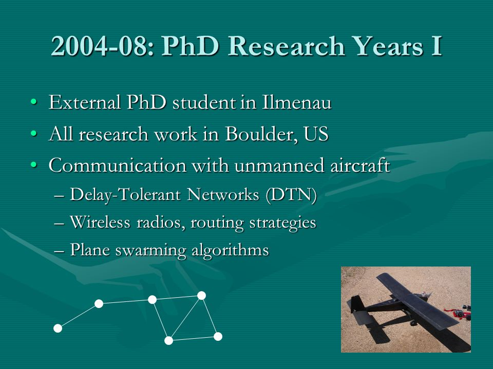 2004-08: PhD Research Years I External PhD student in Ilmenau