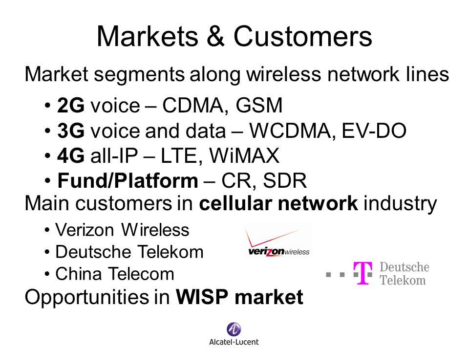 Markets & Customers Market segments along wireless network lines