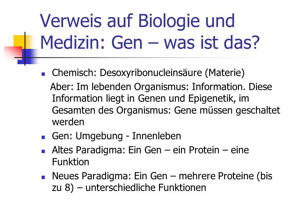 Verweis auf Biologie und Medizin: Gen – was ist das