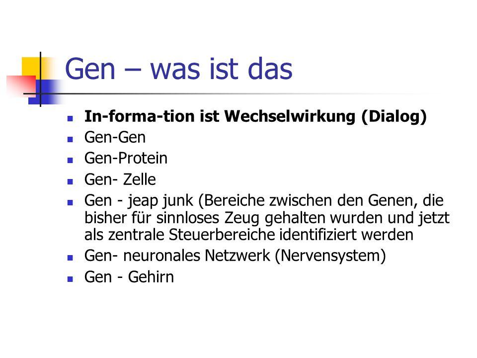 Gen – was ist das In-forma-tion ist Wechselwirkung (Dialog) Gen-Gen