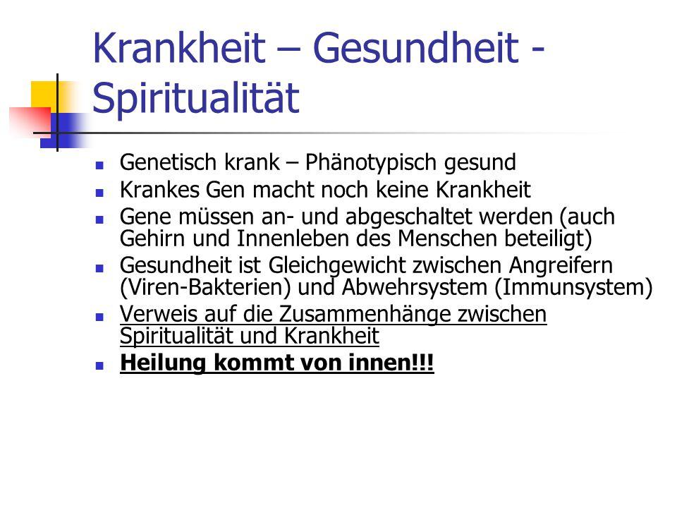 Krankheit – Gesundheit - Spiritualität