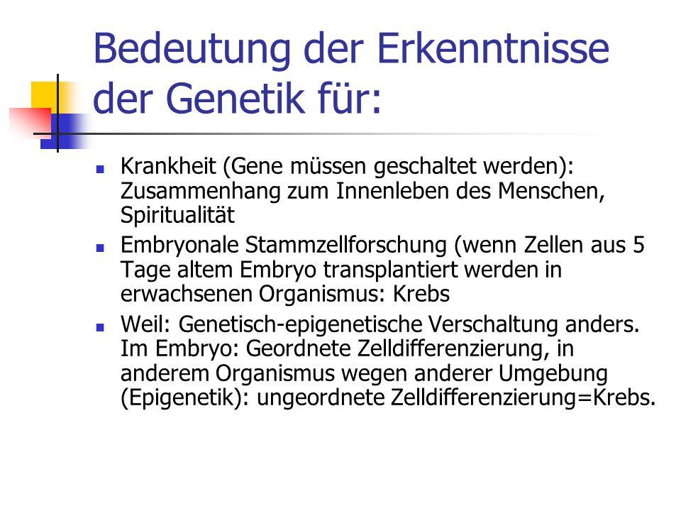 Bedeutung der Erkenntnisse der Genetik für:
