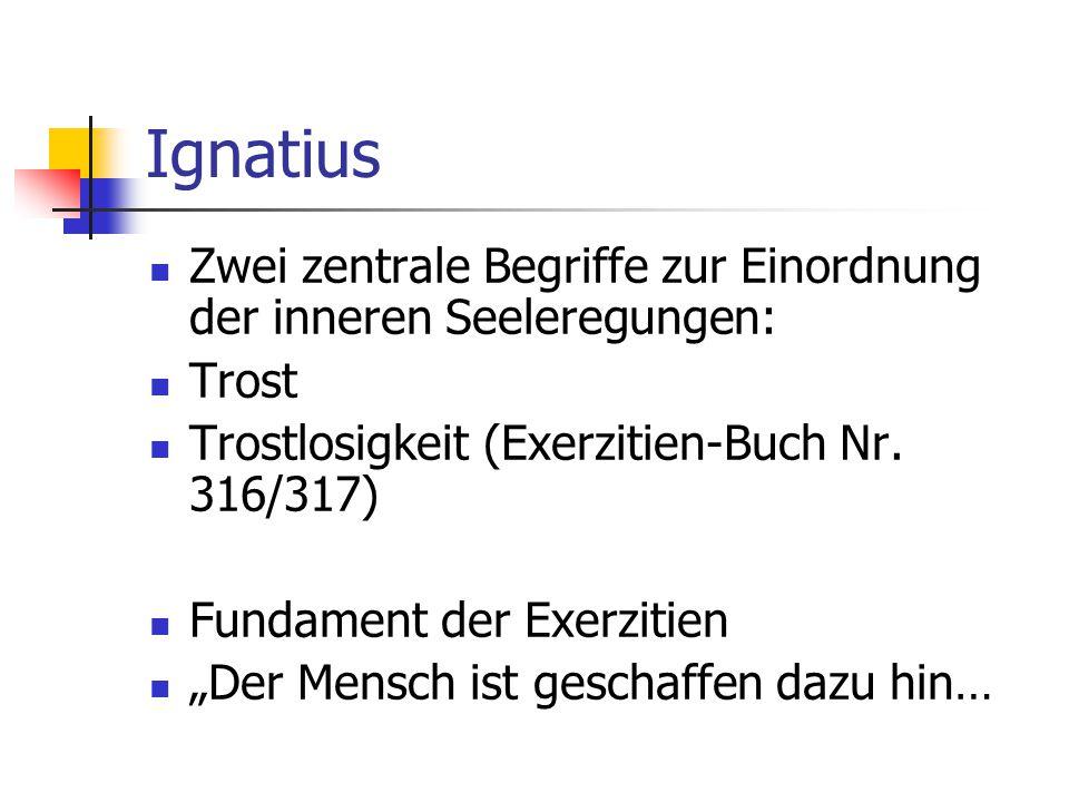 Ignatius Zwei zentrale Begriffe zur Einordnung der inneren Seeleregungen: Trost. Trostlosigkeit (Exerzitien-Buch Nr. 316/317)