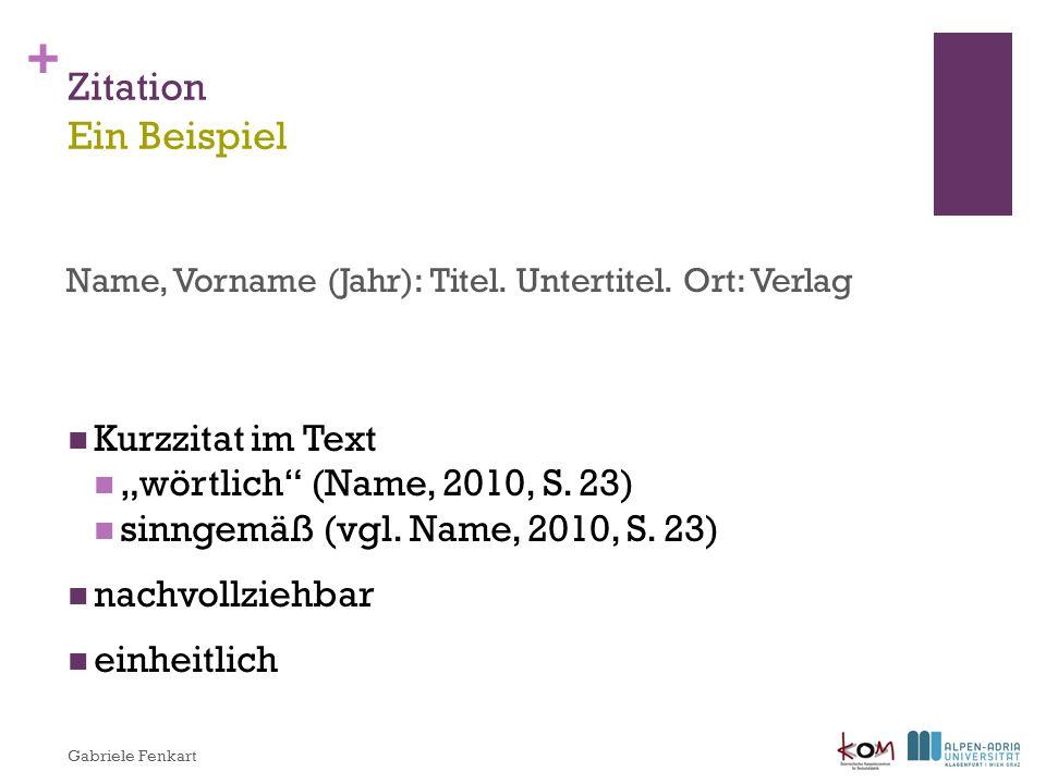 """Zitation Ein Beispiel Kurzzitat im Text """"wörtlich (Name, 2010, S. 23)"""