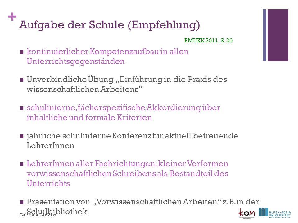 Aufgabe der Schule (Empfehlung) BMUKK 2011, S. 20