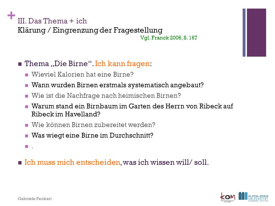 "Thema ""Die Birne . Ich kann fragen:"