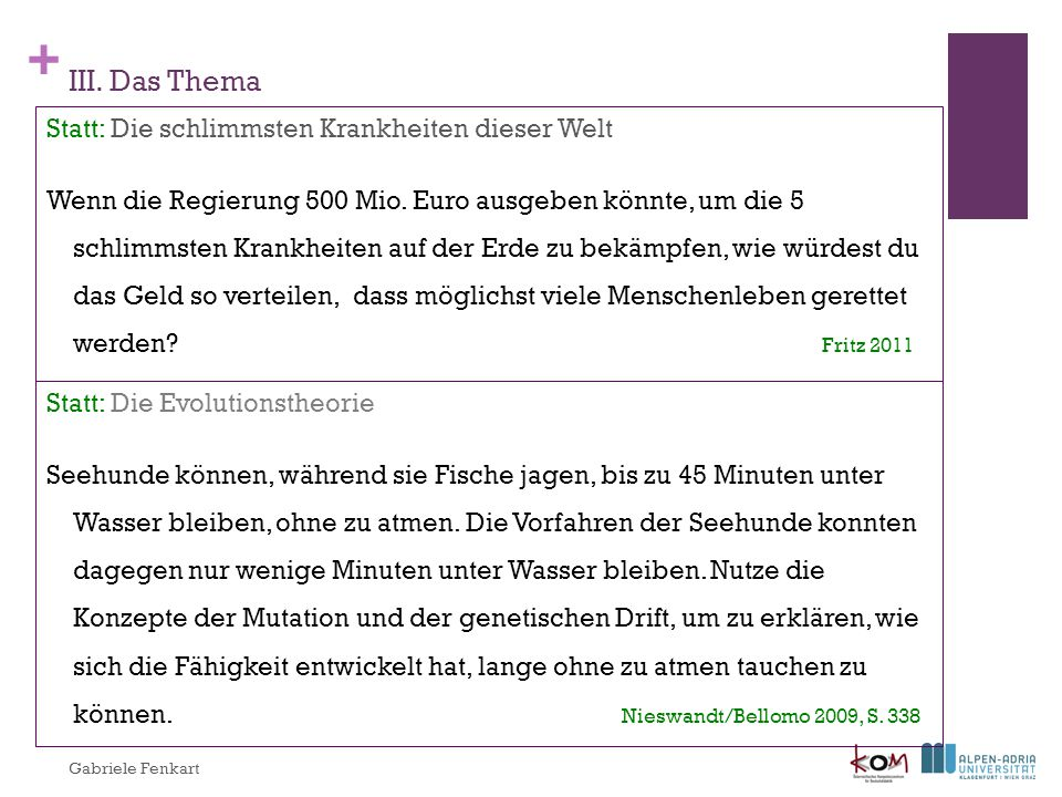 III. Das Thema