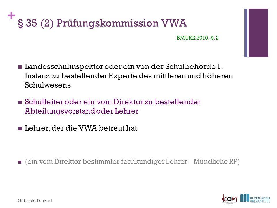 § 35 (2) Prüfungskommission VWA BMUKK 2010, S. 2