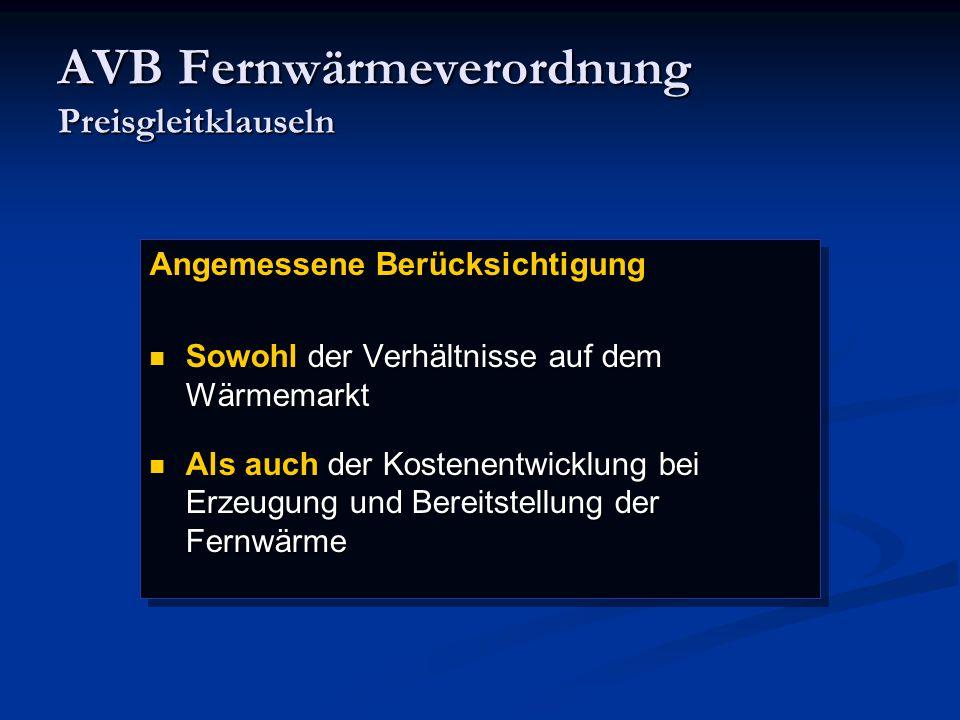 AVB Fernwärmeverordnung Preisgleitklauseln
