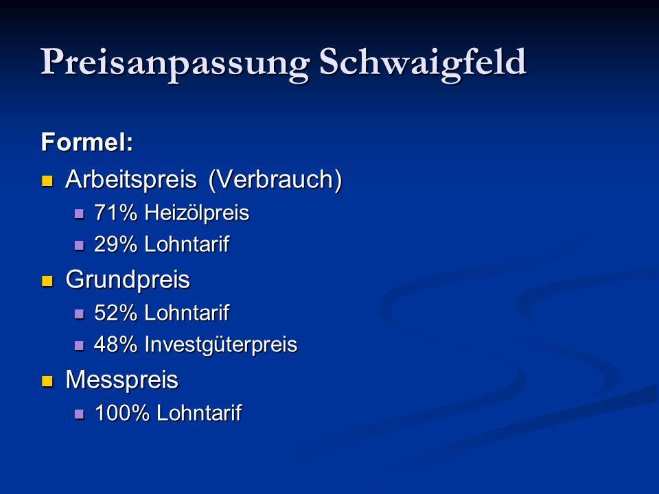Preisanpassung Schwaigfeld