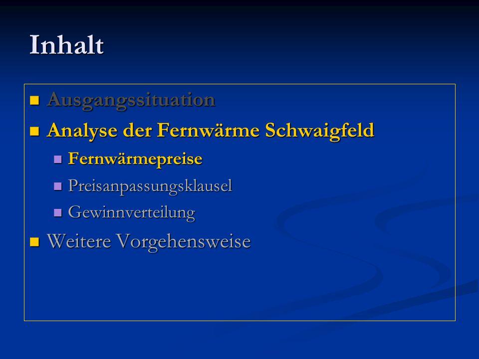 Inhalt Ausgangssituation Analyse der Fernwärme Schwaigfeld