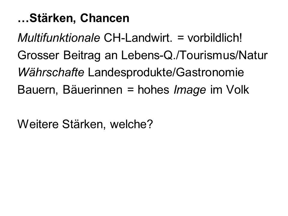 …Stärken, Chancen Multifunktionale CH-Landwirt. = vorbildlich! Grosser Beitrag an Lebens-Q./Tourismus/Natur.