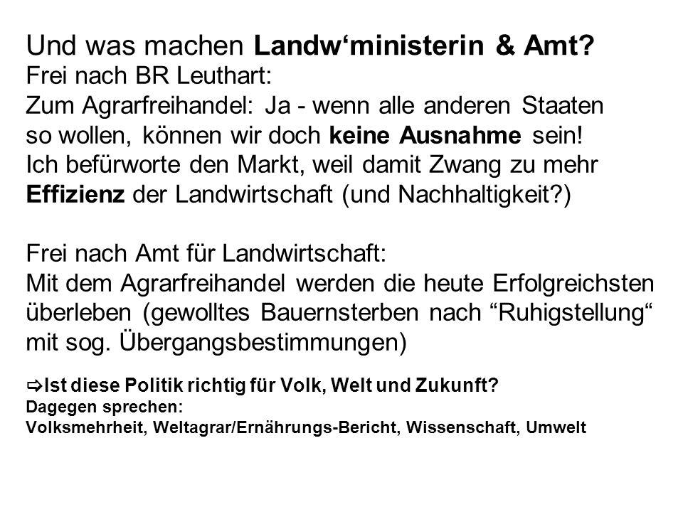 Und was machen Landw'ministerin & Amt