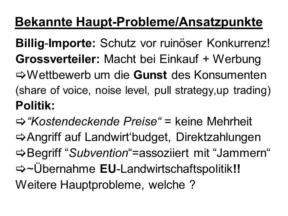 Bekannte Haupt-Probleme/Ansatzpunkte