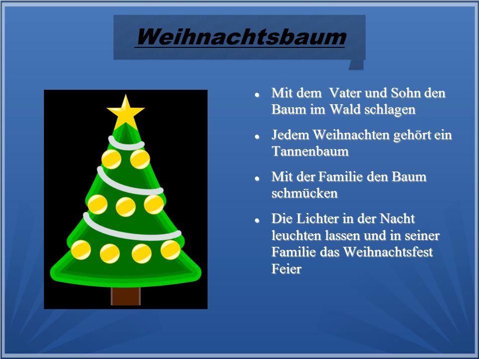 Weihnachtsbaum Mit dem Vater und Sohn den Baum im Wald schlagen