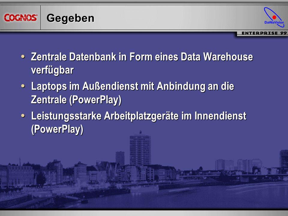 Gegeben Zentrale Datenbank in Form eines Data Warehouse verfügbar. Laptops im Außendienst mit Anbindung an die Zentrale (PowerPlay)