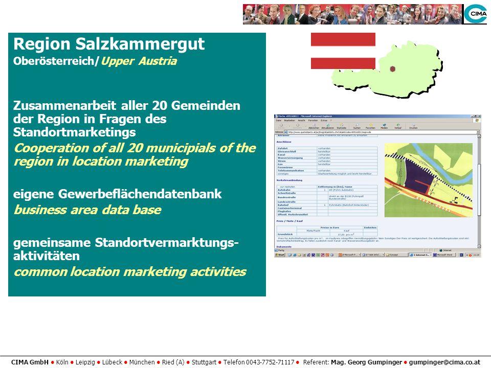 Region Salzkammergut Oberösterreich/Upper Austria. Zusammenarbeit aller 20 Gemeinden der Region in Fragen des Standortmarketings.