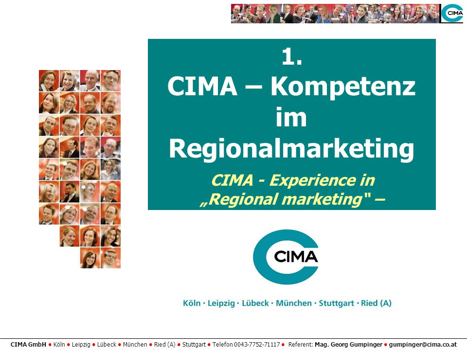 "CIMA – Kompetenz im Regionalmarketing ""Regional marketing –"