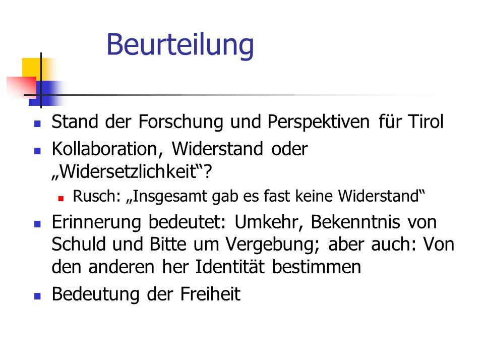 Beurteilung Stand der Forschung und Perspektiven für Tirol