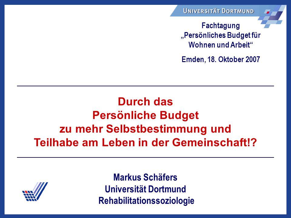 """Fachtagung """"Persönliches Budget für Wohnen und Arbeit"""