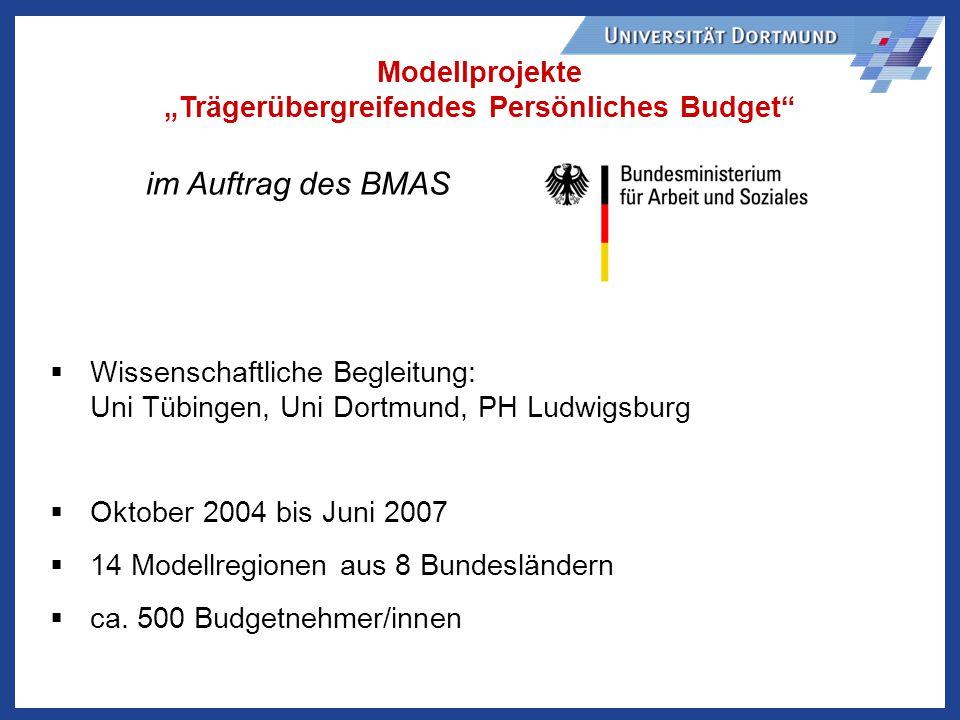 """Modellprojekte """"Trägerübergreifendes Persönliches Budget"""