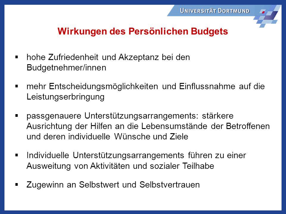 Wirkungen des Persönlichen Budgets