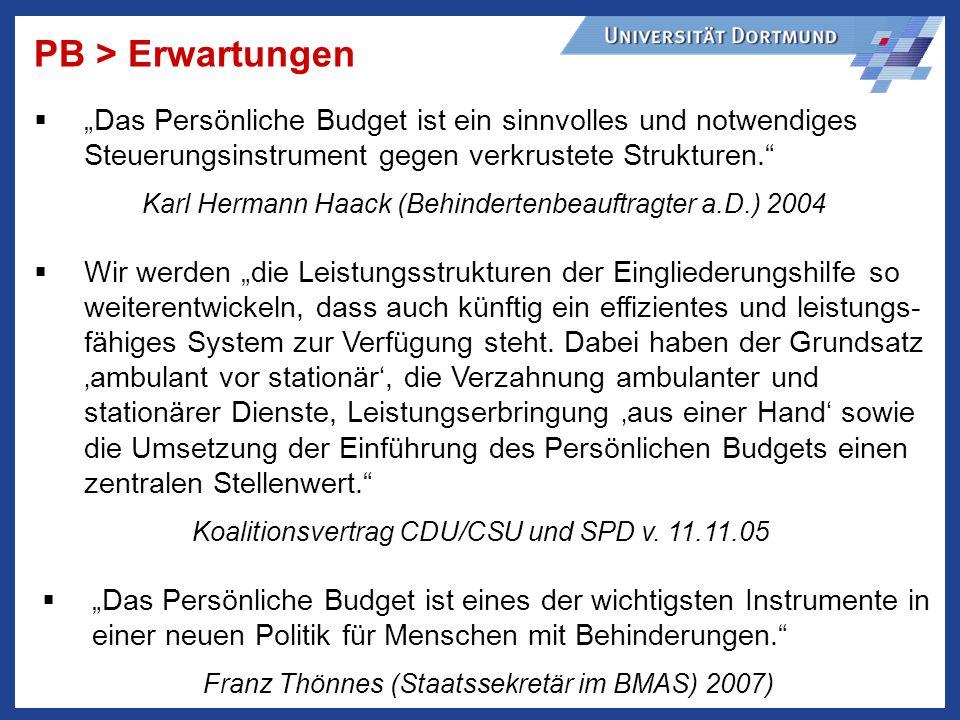 """PB > Erwartungen """"Das Persönliche Budget ist ein sinnvolles und notwendiges Steuerungsinstrument gegen verkrustete Strukturen."""