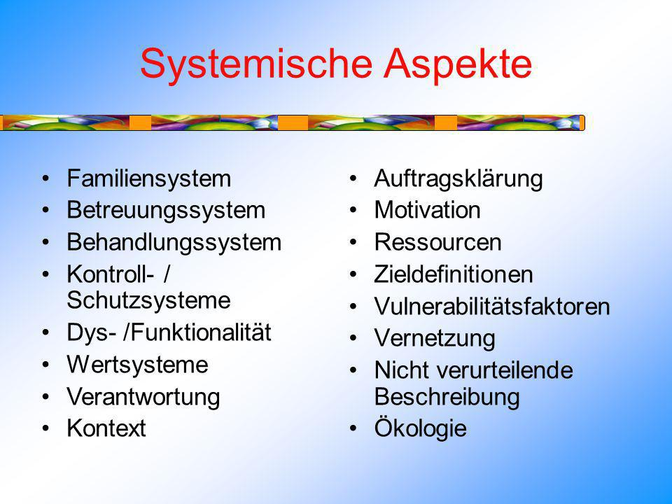 Systemische Aspekte Familiensystem Betreuungssystem Behandlungssystem