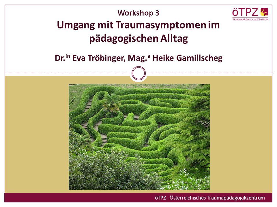 26.-27.November.2010 Workshop 3 Umgang mit Traumasymptomen im pädagogischen Alltag Dr.in Eva Tröbinger, Mag.a Heike Gamillscheg.