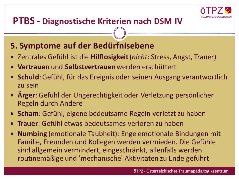 PTBS - Diagnostische Kriterien nach DSM IV