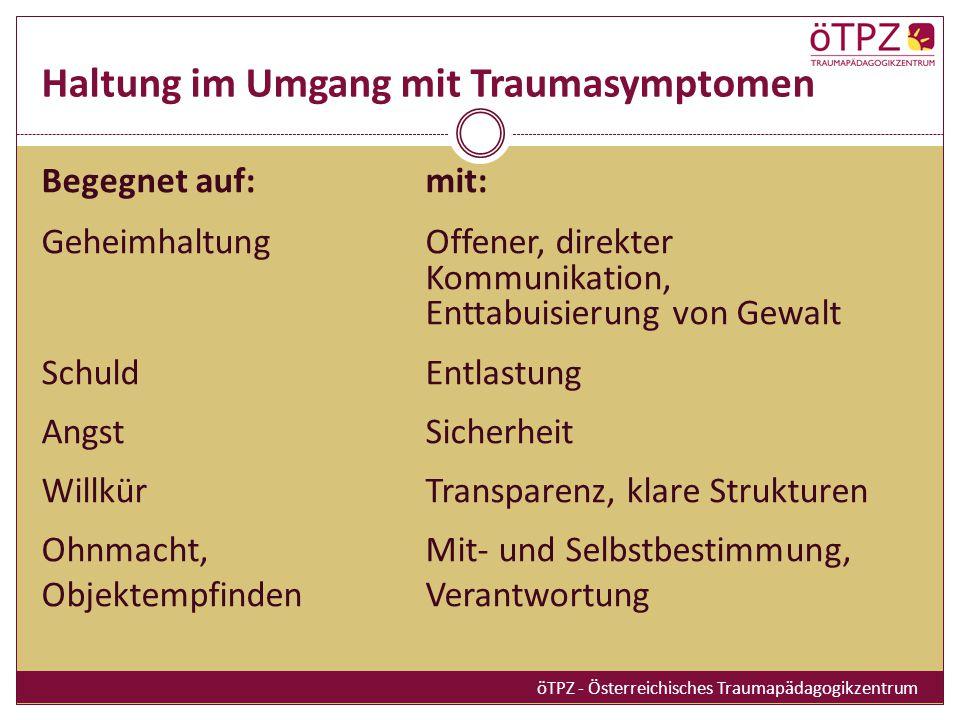 Haltung im Umgang mit Traumasymptomen