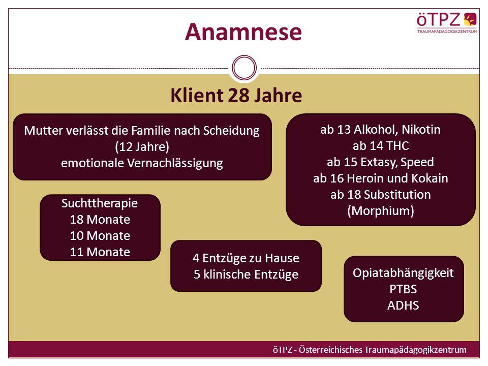 Anamnese Klient 28 Jahre. Mutter verlässt die Familie nach Scheidung (12 Jahre) emotionale Vernachlässigung.