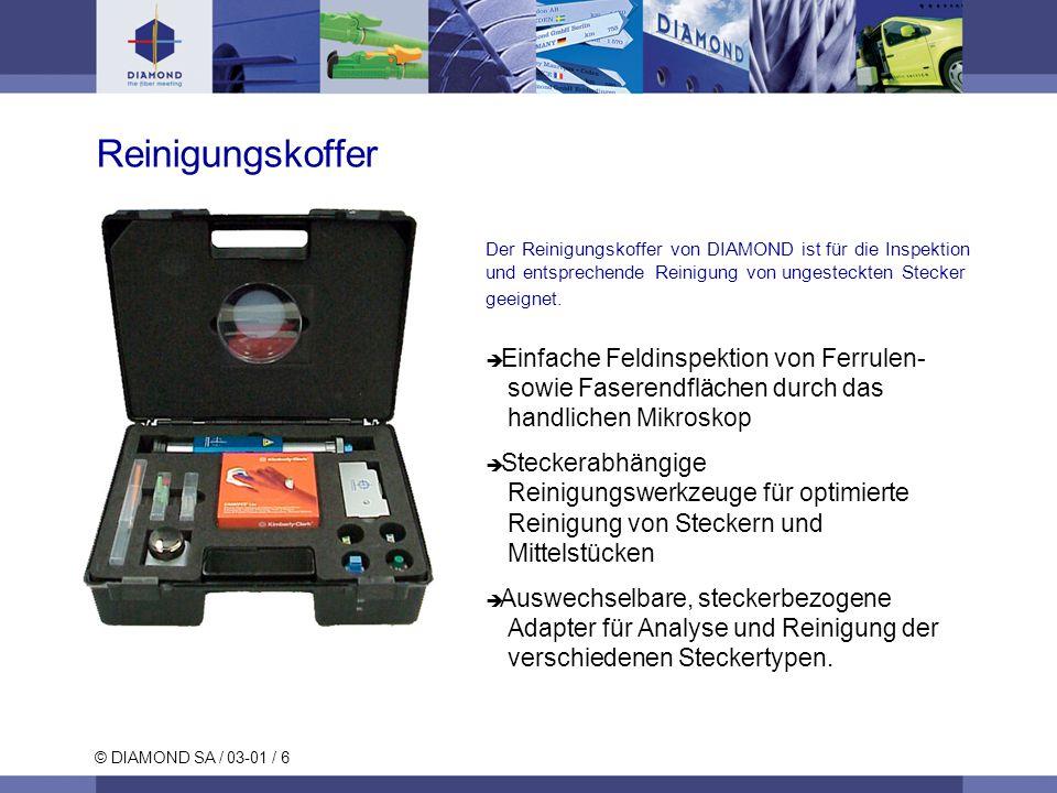Reinigungskoffer Der Reinigungskoffer von DIAMOND ist für die Inspektion und entsprechende Reinigung von ungesteckten Stecker geeignet.