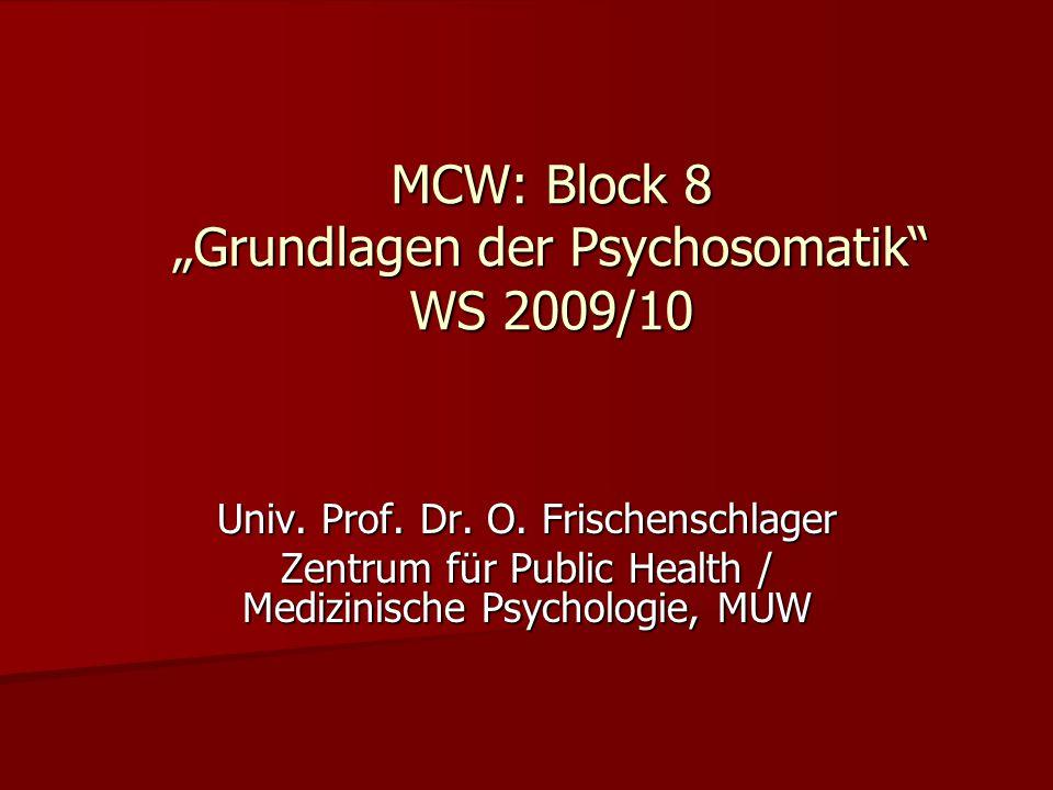 """MCW: Block 8 """"Grundlagen der Psychosomatik WS 2009/10"""