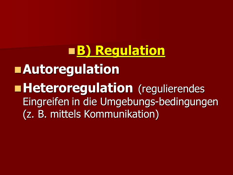 B) Regulation Autoregulation.