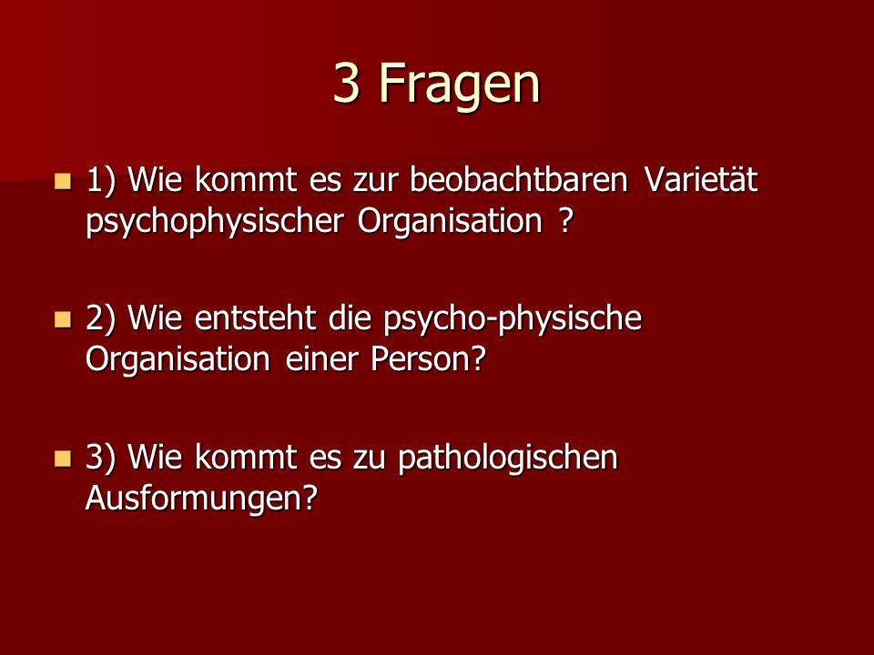 3 Fragen 1) Wie kommt es zur beobachtbaren Varietät psychophysischer Organisation 2) Wie entsteht die psycho-physische Organisation einer Person