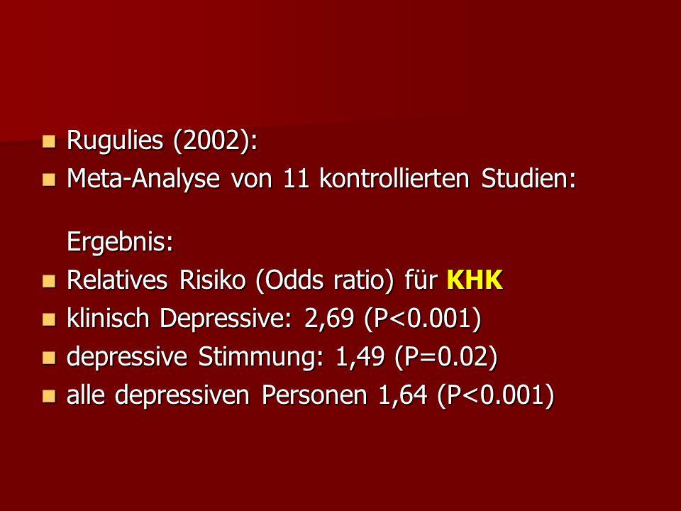 Rugulies (2002): Meta-Analyse von 11 kontrollierten Studien: Ergebnis: Relatives Risiko (Odds ratio) für KHK.