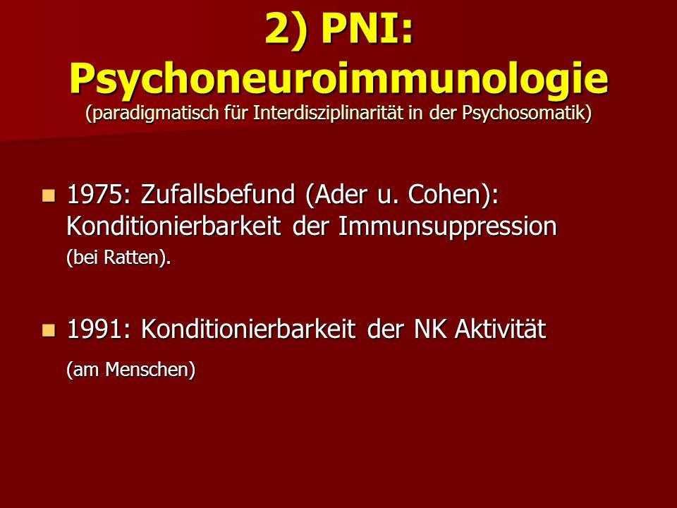 2) PNI: Psychoneuroimmunologie (paradigmatisch für Interdisziplinarität in der Psychosomatik)