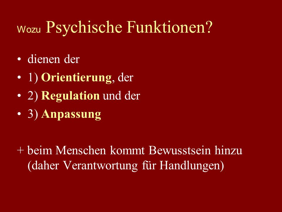 Wozu Psychische Funktionen