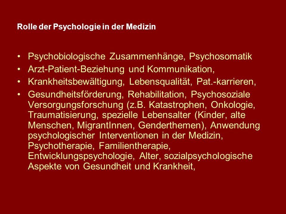 Rolle der Psychologie in der Medizin