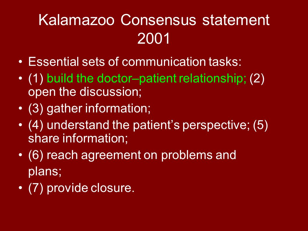 Kalamazoo Consensus statement 2001