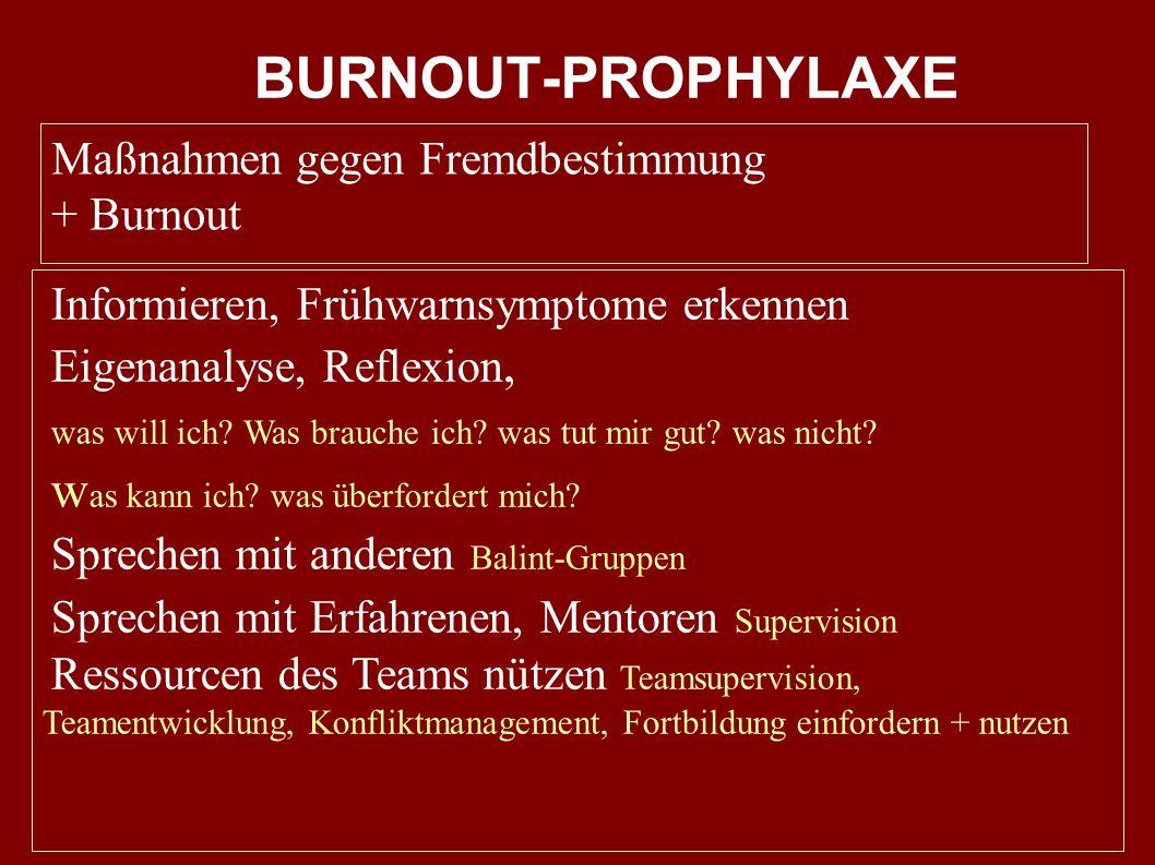 BURNOUT-PROPHYLAXE was kann ich was überfordert mich