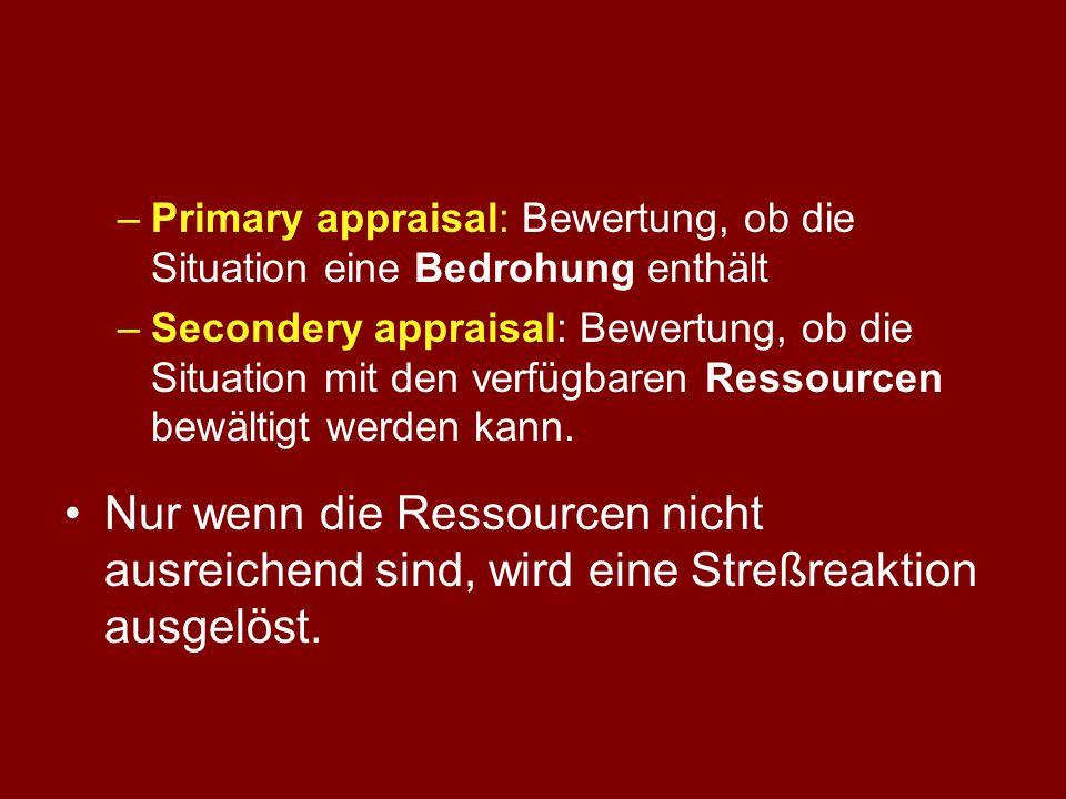 Primary appraisal: Bewertung, ob die Situation eine Bedrohung enthält